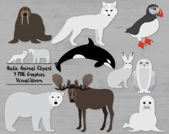 Arctic Animals Clipart Winter Polar Animals Arctic Scrapbooking Graphics Moose Puffin Arctic Fox Polar Bear Snowy Owl Seal Orca Whale Walrus