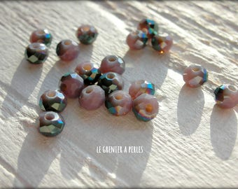 3 mm purple AB Abacus beads X 50