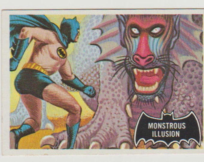 1966 Topps Batman Trading Card (Black Bat) #48 Monstrous Illusion. EX-MT 6. Topps Company Inc, DC Comics