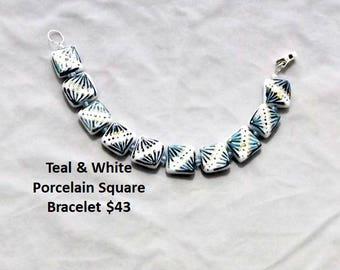 Teal & White Porcelain Bracelet