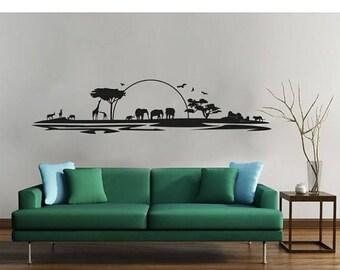 20% OFF Summer Sale Safari exotic tribal wall decal, sticker, mural, vinyl wall art