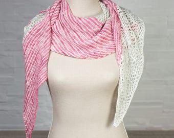 Pink gray and Merino lace shawl