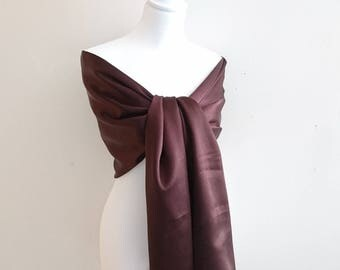 Stole Brown satin wedding/party/christening/cocktail/Christmas/holiday season 65/200 cm
