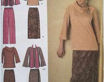 OUT of PRINT Simplicity Pattern 4886 Misses' & Plus Size Top, Pants, Skirt and Scarf