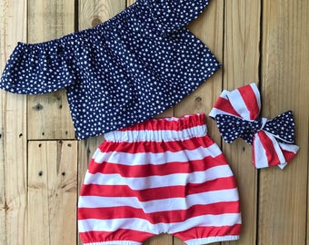 Tess t . 4th of july set, bloomers, off the shoulder top, headwrap