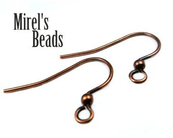 48 pcs Antique Copper Plated Ear Wires with Ball, Fish Hook