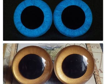 30mm Glow In The Dark Safety Eyes, Metallic Dark Gold Safety Eyes With Blue Glow, 1 Pair Of Hand Painted Plastic Safety Eyes