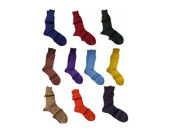 10 Colors Men New Natural Ribbed %100 Cotton Fine Casual Socks Solid