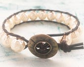 Chunky baroque pearl beaded leather boho bracelet with bronze button
