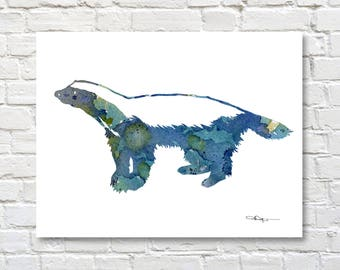 Honey Badger Art Print - Abstract Watercolor Painting - Wall Decor