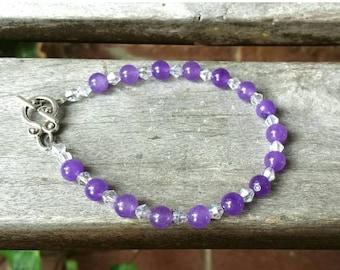 Purple Amethyst Bracelet, Swarovski Crystal Accents, Genuine Amethyst Jewelry,  Gemstone Jewelry