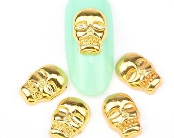 Gold Skull Nail Charm 2 pcs / Nail Art / Nail Design