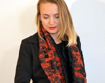 black snood with red design
