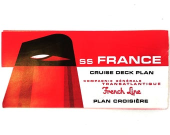 1960s SS France Ocean Liner Fold Out Cruise Deck Plan, French Line