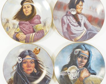 4 Gregory Perillo Native American Princess Collectors Plates, Ltd Ed. 1981