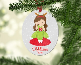Personalized Christmas Princess Ornament, Ornaments for Kids,  Personalized Christmas Ornament, Stocking Stuffer