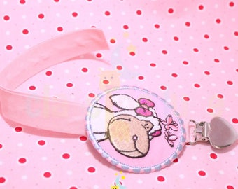Personalized pacifier clip pink little sheep applique cotton with snap.