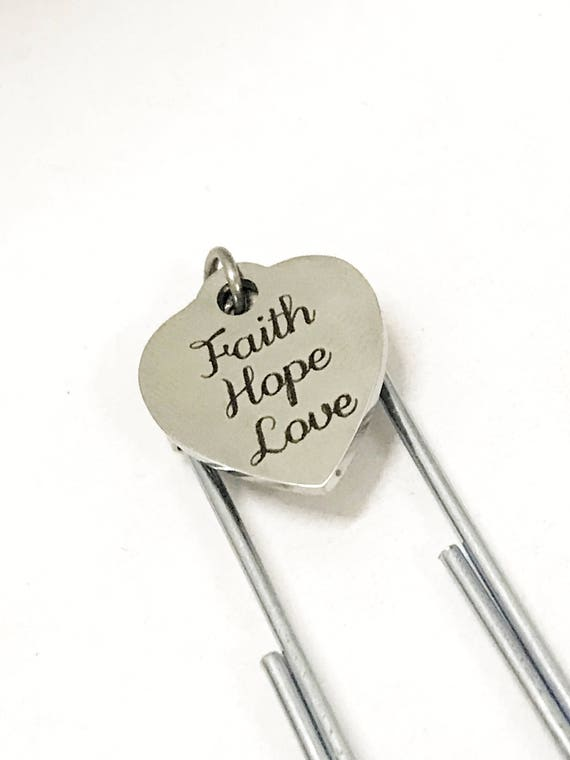 Planner Paper Clip, Paper Clip Bookmark, Planner Bookmark, Faith Hope Love Paper Clip, Christian Planner Accessories, Bible Bookmark