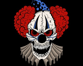 evil clown with red hair and blue hat  3.5 Inches White Vinyl  Sticker Decal Laptop Car Bumper Sticker