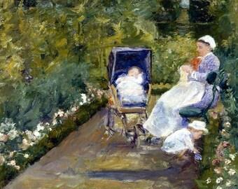 """Laminated placemat Mary Cassatt """"Children in the garden"""""""