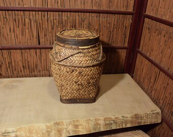 Vintage Southeast Asian Rattan Storage Basket