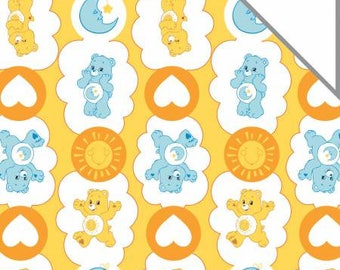 Care Bears Funshine Bear & Bedtime Bear on Yellow Cotton Flannel