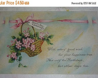 ON SALE Basket of Pink Flowers Birthday Greetings Antique Pink of Perfection Postcard