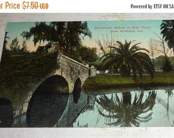 ON SALE till 7/28 December Scene on City Park, New Orleans, LA Antique View Postcard