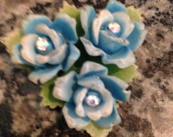 Vintage Celluloid Rhinestone Flower Brooch 1940 - 1950 Western Germany Blue Flowers
