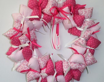 Pink Pillow Wreath for Nursery or Playroom