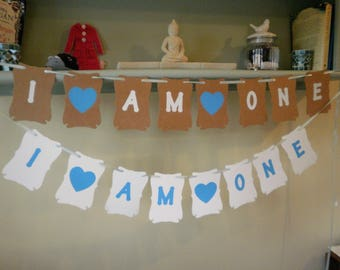 I am One, Two, etc Birthday Bunting Banner Any Age Blue, Pink