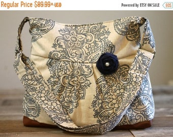 CHRISTMAS SALE Concealed Carry Purse, Medium Messenger Bag, Tan and Navy Damask, Conceal Carry Handbag, Concealed Carry Purse, Conceal and C