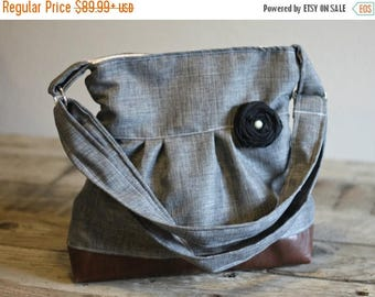 CHRISTMAS SALE Conceal Carry Purse, Medium Messenger Bag, Grey Conceal Carry, Conceal Carry Handbag, Concealed Carry Purse, Conceal and Carr