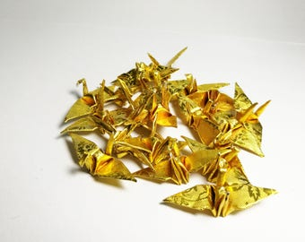 "1000 Origami Paper Crane in Gold With Rose Pattern 1.5"" inch Origami Paper Origami Cranes Origami Paper Cranes"