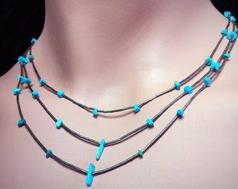 Vintage turquoise Necklace • Sterling Silver • gemstone choker • Southwestern Jewelry • Boho • Bohemian • Festival • dainty necklace