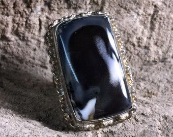 Ghost Agate + Antiqued Sterling Silver .925 Statement Ring Size 8.5