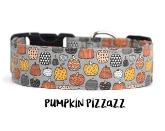 Fall Dog Collar, Autumn Dog Collar, Pumpkin Dog Collar, Halloween Dog Collar, Wide Dog Collar (Standard, Metal Buckle, or Martingale)