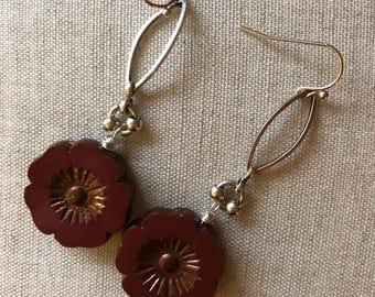 Burgundy flower earrings