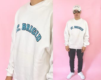 White sweatshirt st brigid vintage sweater 1990s 1980s 90s 80s college