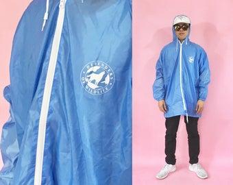 Vintage windbreaker hoodie blue light blue parka 1990s 1980s 90s 80s