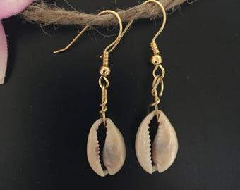 Cowrie Shell Earrings Gold and Shell Earrings Shell Jewelry Boho Hippy Beach Tropical Hawaii Florida Island Beachy Jewelry