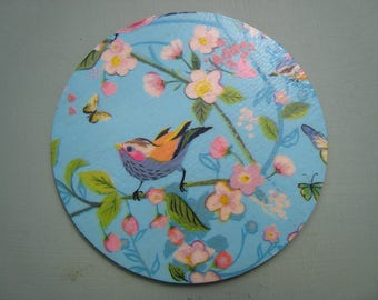 Hand-made coasters, wooden base, decoupage