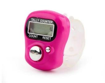 Digital Row Counter, PINK Digital Finger Tally Counter, Finger row counter, knit row counter crochet row counter stitch counter knit counter