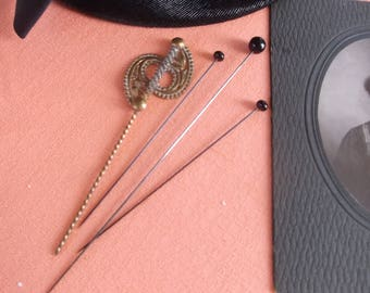 Antique Victorian Hat Pin Lot of 4 Old Hat Pins, Extra Long Black Glass Hat Pin, Ornate Fancy Long Brass Hat Pin