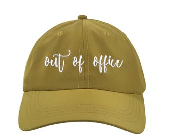 OUT of OFFICE Satin Dad Hat, Embroidered Cursive Baseball Cap 90s Style Hat, Mustard Yellow