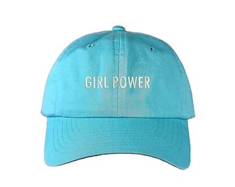 "GIRL POWER Dad Hat, Embroidered ""Girl Power"" Feminism Hat, Low Profile Feminist Girl Gang Baseball Cap Hat, Cyan Blue"