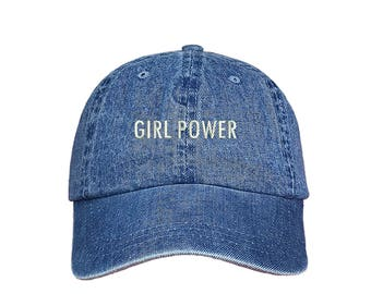"""GIRL POWER Dad Hat, Embroidered """"Girl Power"""" Feminism Hat, Low Profile Feminist Girl Gang Baseball Cap Hat, Light Denim"""