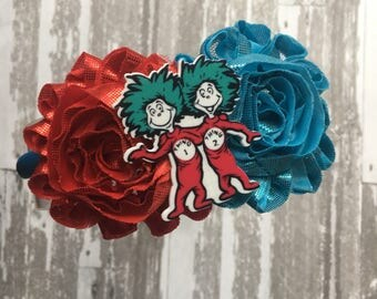 FREE SHIPPING- Thing 1 and Thing 2 Headband - Thing 1 and Thing 2 Bow - Thing 1 and Thing 2 Party - Cat in the Hat Bow