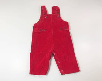 Vintage Red Corduroy Baby Boy Overalls, 9 months