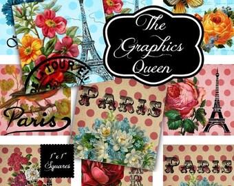 80%  off Graphics Sale Paris in Summer-Eiffel Tower Digital Collage 1 inch Square Scrabble Tile Images for Scrabble Tiles, Resin Pendants Gl